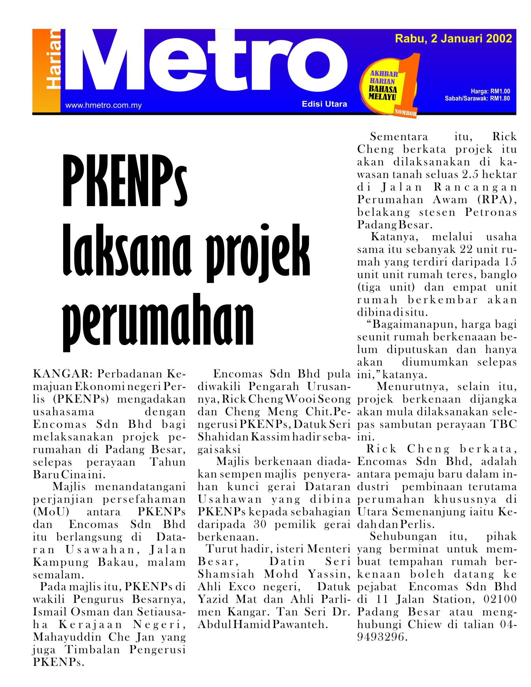 2002_01_02 metro - PKENPs laksana projek perumahan dengan Encomas