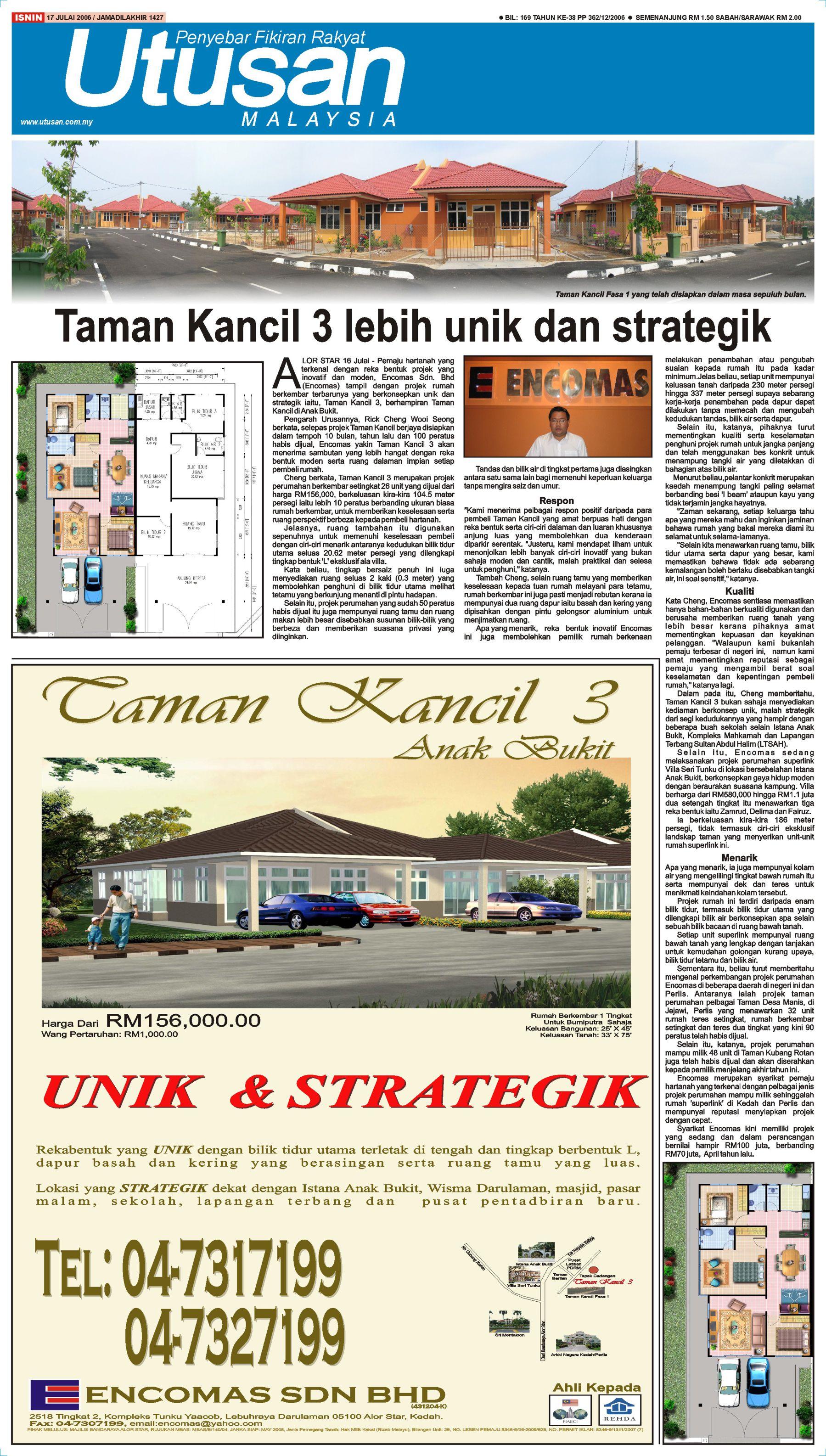 2006_07_17 Utusan - Launching Taman Kancil 3 at Anak Bukit, Alor Setar