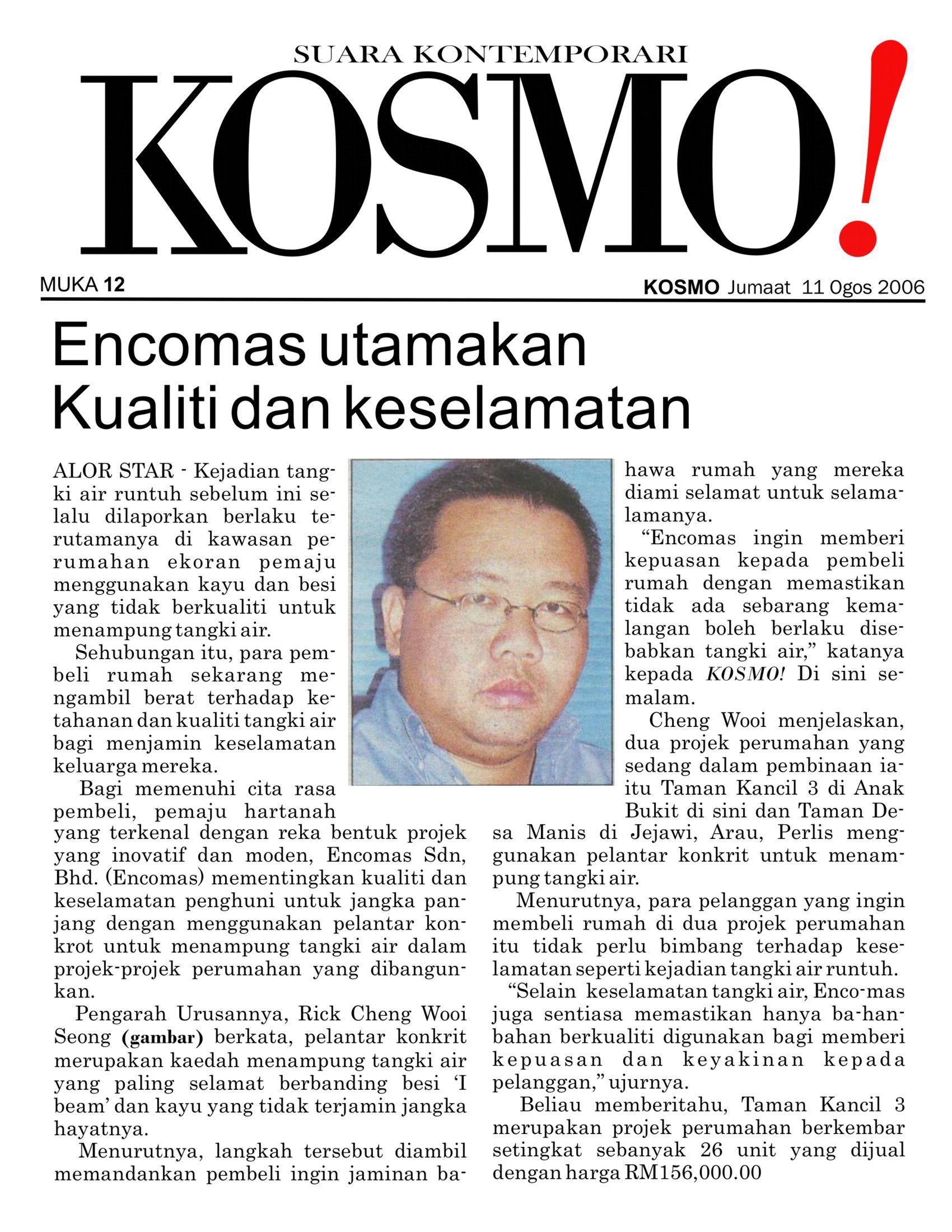 2006_08_11 kosmo - Encomas Utamankan Kualiti dan Keselamatan