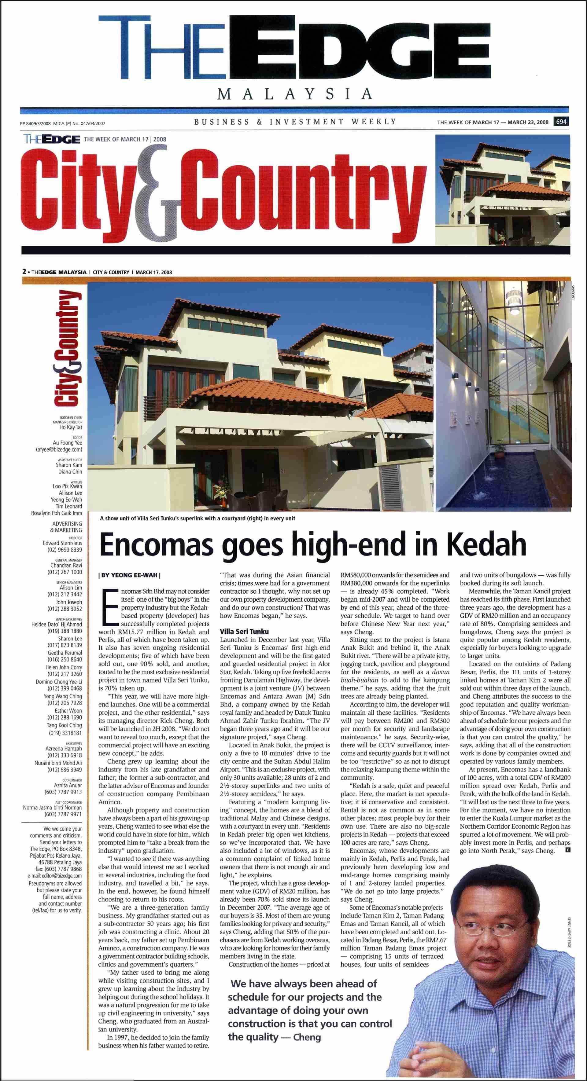 2008_03_17 The Edge - Encomas goes high-end in Kedah