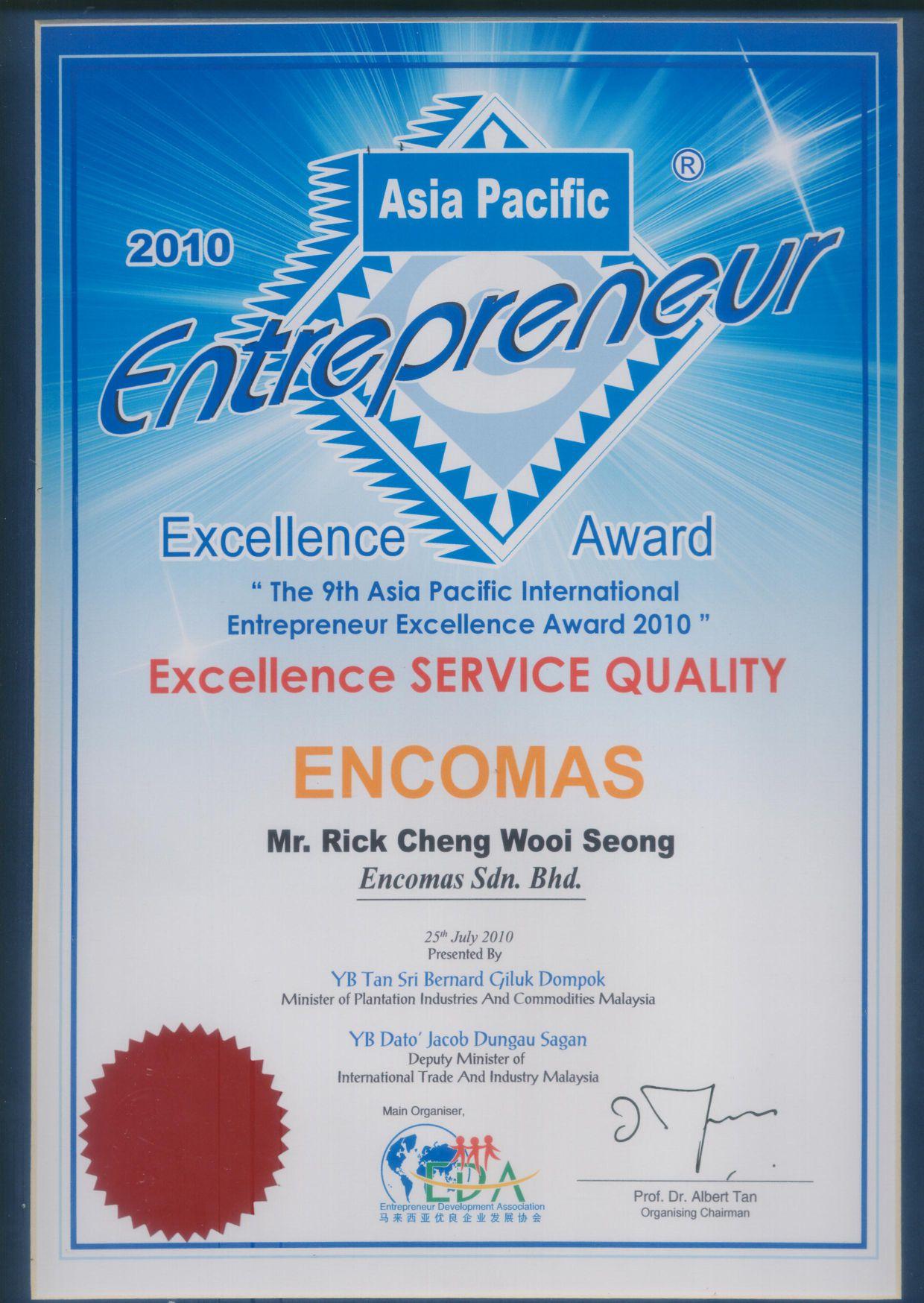 Asia Pacific Entrepreneur Excellence Service Award 2010 ...