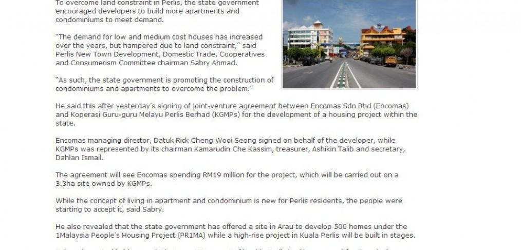 Perlis Encourage Developers To Build More Condos Apartments Encomas