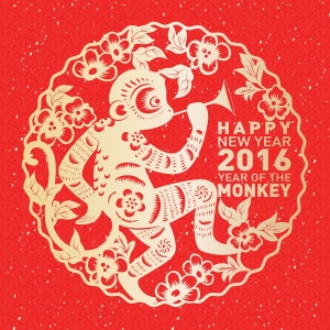 Traditional Chinese paper cut art for Chinese New Year Year of the Monkey 2016