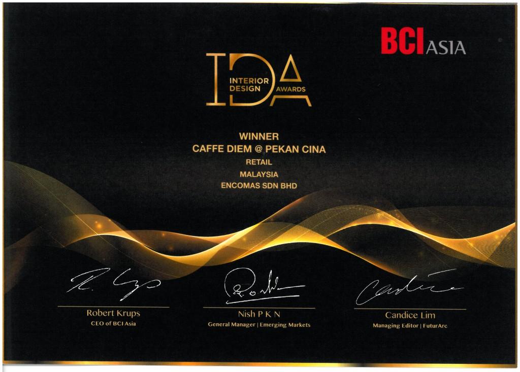 BCI Asia Interior Design Award, caffe diem